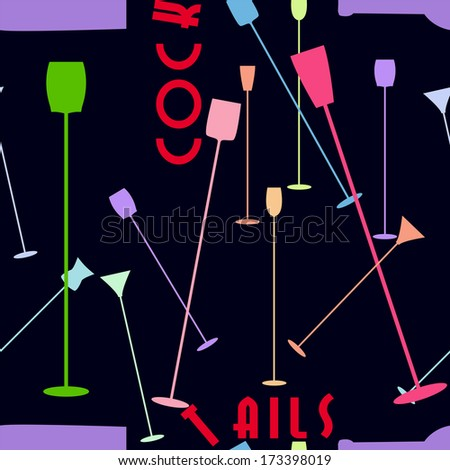 Cocktail  / drink  seamless pattern. vector illustration, great for drinks menu background - stock vector