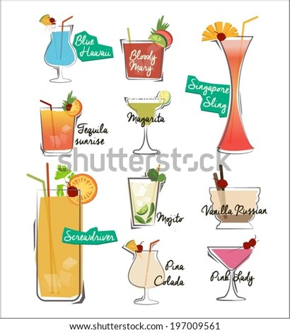 Cocktail Drinks Menu - stock vector