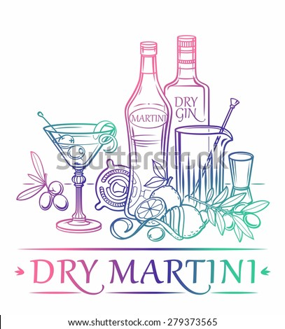 Cocktail Dry Martini with ingredients ( Gin, dry vermouth, lemon, olives, ice cubes ) and barman's instruments - stock vector