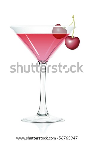 Cocktail glass Cherries.  Serie of images. - stock vector
