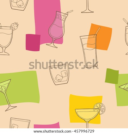 Cocktail glass drink seamless pattern graphic art pink yellow green orange color illustration vector