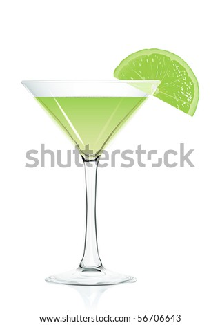 Cocktail glass.  Serie of images. - stock vector