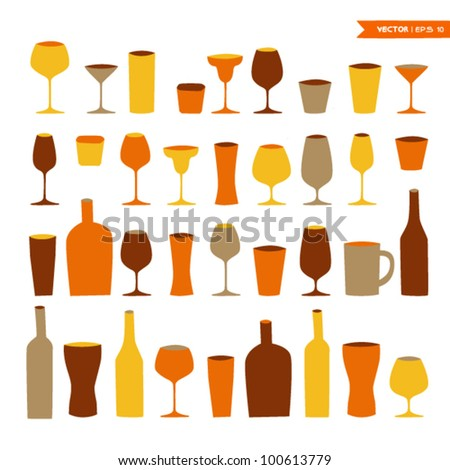 Cocktail glass set - stock vector