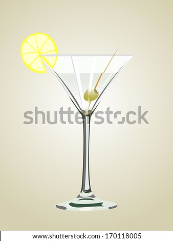 Cocktail glass with olive