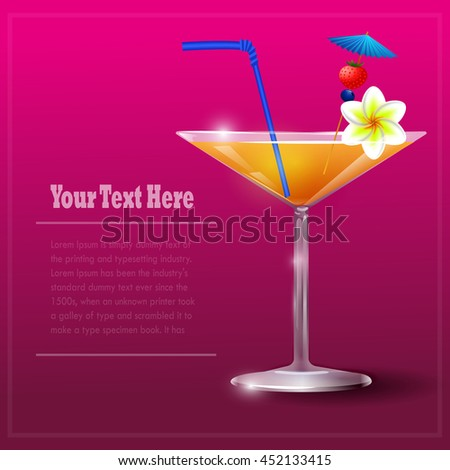 Cocktail Glass with straw and flower