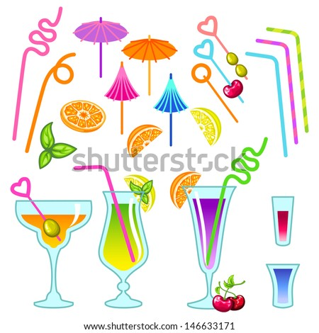 Cocktail icon set - stock vector