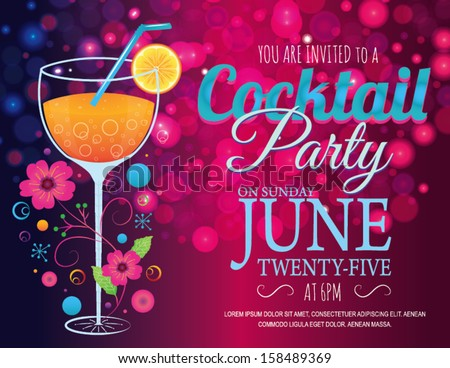 Cocktail Invitation Card in Vector - stock vector