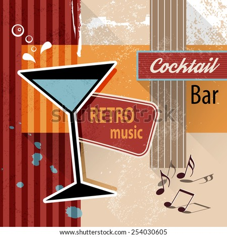 Cocktail lounge bar - retro poster background for party events or drink menu - stock vector