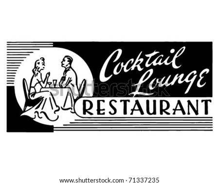 Cocktail Lounge Restaurant - Retro Ad Art Banner - stock vector