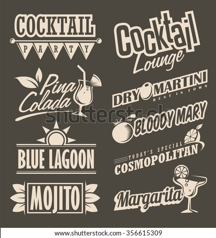 Cocktail lounge retro menu design concept. Chalkboard black background with drink theme for restaurant or cafe bar. - stock vector