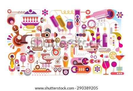 Cocktail Machine vector illustration. Isolated on white background. Abstract colorful graphic design. - stock vector