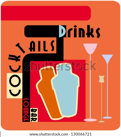 Cocktail menu card design template - stock vector