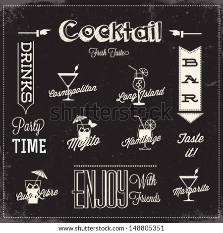 Cocktail menu design - stock vector