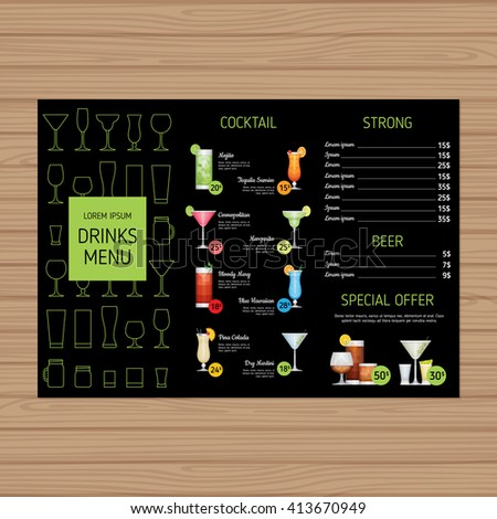 Cocktail Menu Design Alcohol Drinks A4 Vector 413673448 – Cocktail Menu Template Free Download