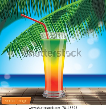 Cocktail on the beach. Vector image - stock vector