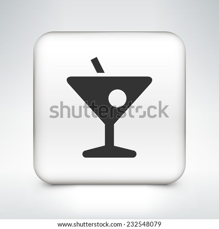 Cocktail on White Square Button