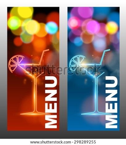Cocktail party design menu (vector image) - stock vector