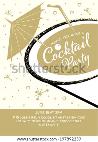 Cocktail Party Invitation Design with Glass in Vector