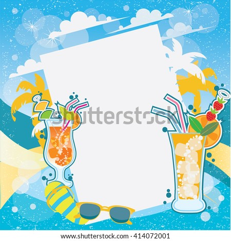Cocktail party invitation poster. Summer background.