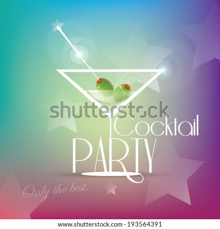 Cocktail party invitation with martini glass - stock vector