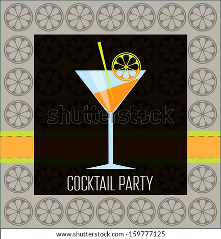 Cocktail party, martini and lemon. - stock vector