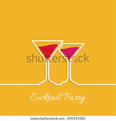 Cocktail party. Martini glass. Invitation club night. restaurant menu - stock vector