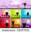 Cocktail party on the beach - stock vector