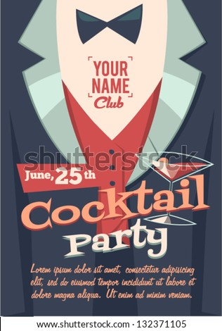 Cocktail party poster - stock vector