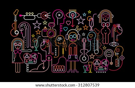 Cocktail party vector illustration. Neon light silhouettes on black background. Nightclub graphic design. - stock vector