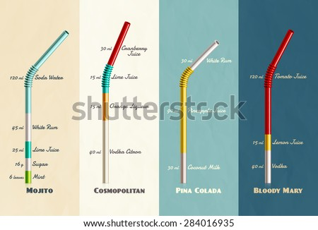 Cocktail recipes collection, eps 10 - stock vector