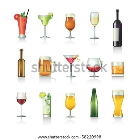 cocktail set - stock vector