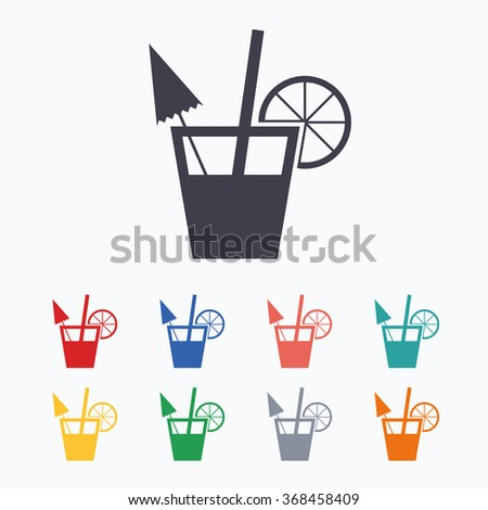 Cocktail sign. Alcoholic drink symbol. Colored flat icons on white background. - stock vector