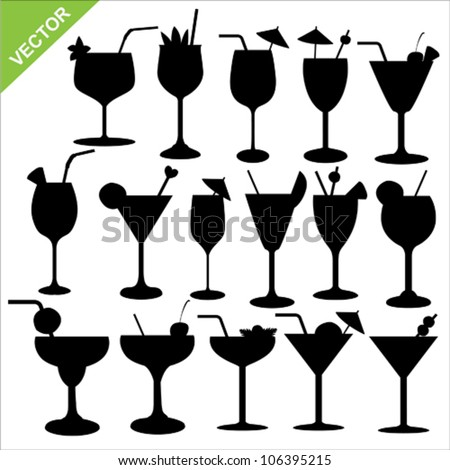 Cocktail Logo Vector Cocktail Silhouettes Vector