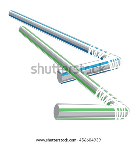Cocktail straw. Vector illustration. - stock vector