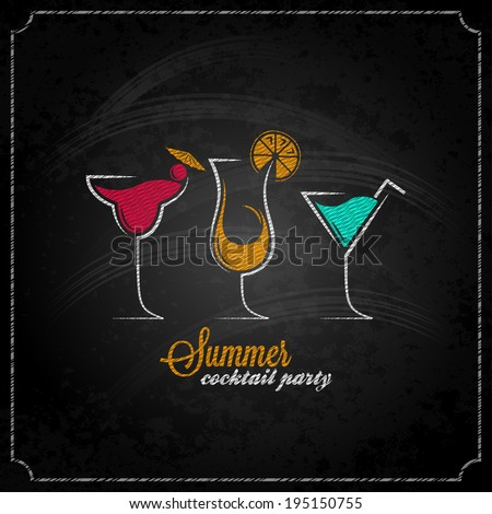 cocktail summer party chalk design menu background - stock vector