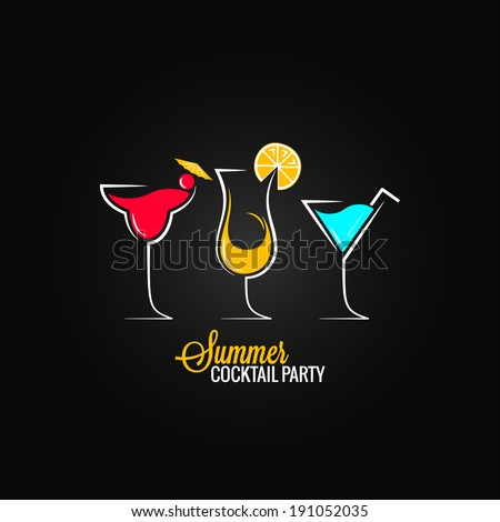 cocktail summer party design menu background - stock vector