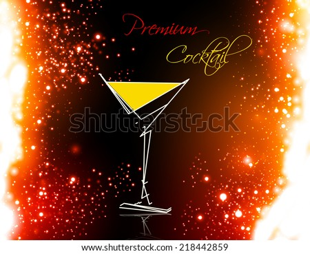 cocktail summer party design menu background, easy all editable - stock vector