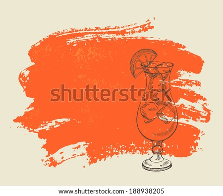 Cocktail tequila sunrise with ice on orange grunge background. - stock vector