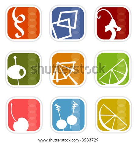 Cocktail Time! Colorful, stylish icons with a retro flavor; Easy-edit layered vector art. All elements whole so you can move them around. - stock vector