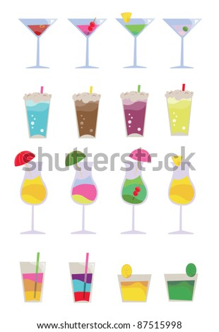 Cocktail vector elements - various drinks and cocktails - stock vector
