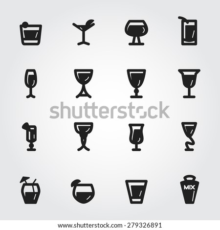 cocktail vector icons - stock vector