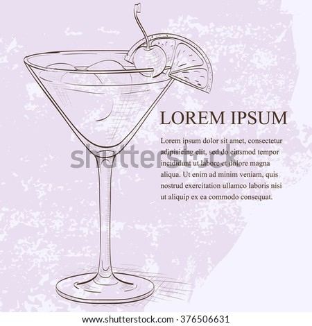 Cocktail Whiskey sour sketch - stock vector