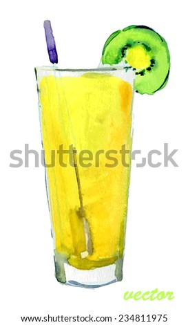 cocktail with a slice of kiwi.  watercolor, Vector. - stock vector