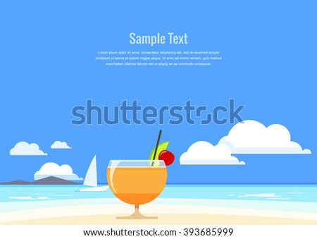 Cocktail with tropical fruit on the background of summer seascape. Flat Design. Vector illustration. - stock vector