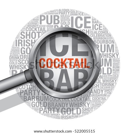 Cocktail word cloud concept, vector illustration