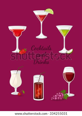 Cocktails and drinks vector illustration with red wine beer cola martini cosmopolitan - stock vector