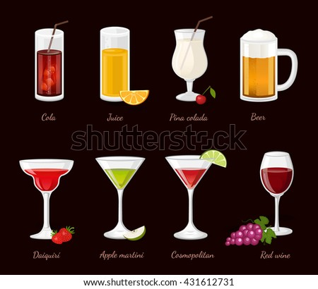 Cocktails and drinks vector isolated illustration with red wine beer cola juice - stock vector