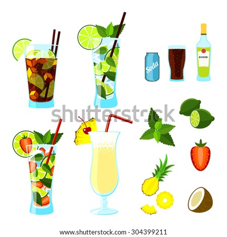 Cocktails and ingredients set: Cuba Libre, Mojito, Strawberry Mojito and Pina Colada. Vector illustration, eps10.