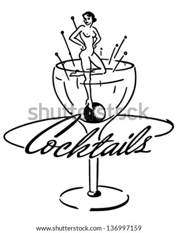 Cocktails Banner - Retro Clip Art Illustration - stock vector