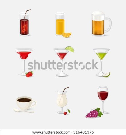 Cocktails beverages and drinks vector illustration with red wine beer cola juice cup coffee - stock vector